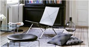 FRITZ HANSEN, fotelja PK22, crna koža